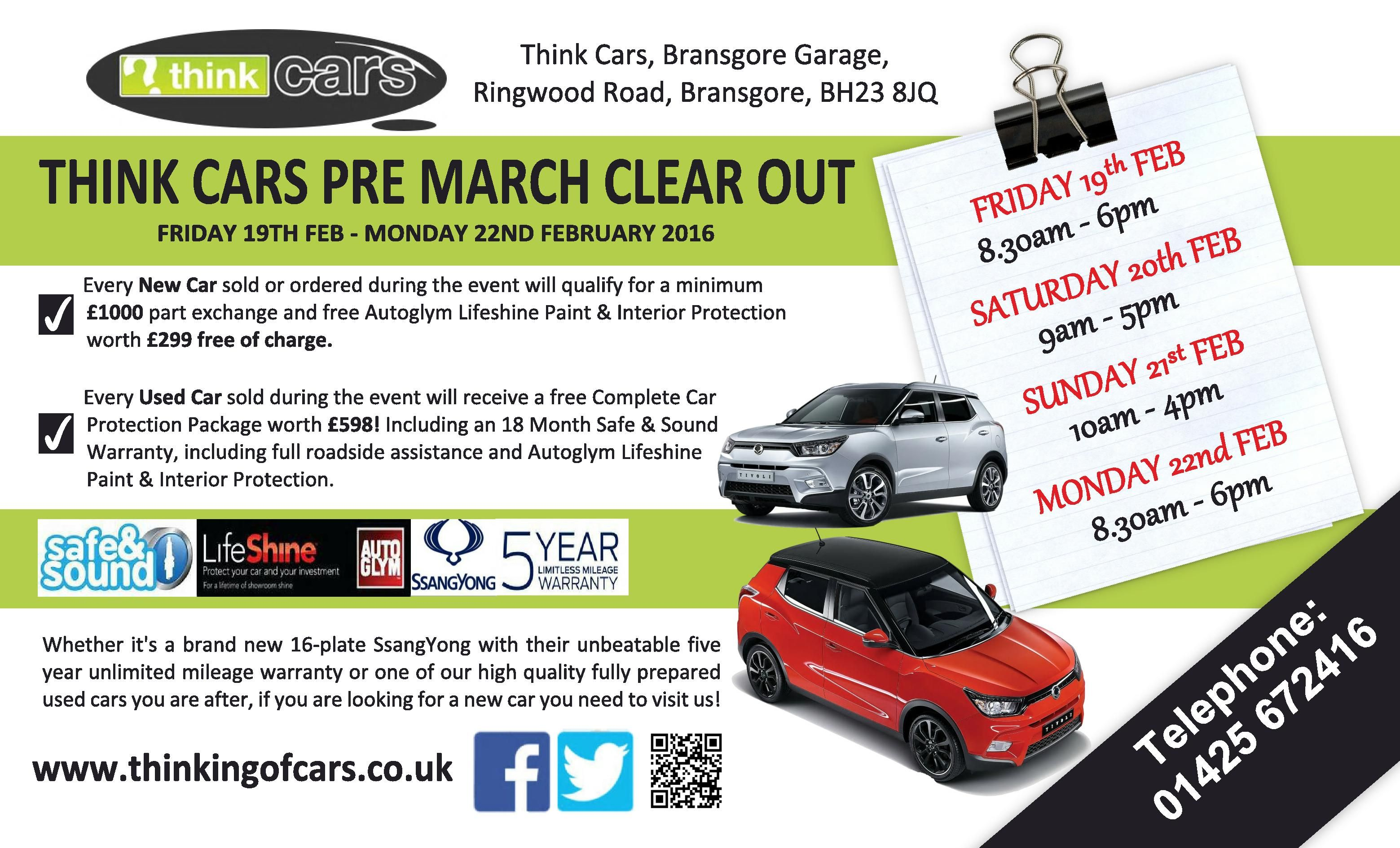 Think Cars Pre-March Clearout Event
